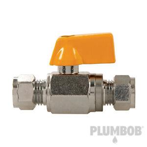 8mm Straight Mini Isolating Ball Valve Water, Natural Gas & LPG.