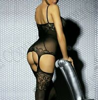Women's Black Sheer Lace Crotchless Suspender BodyStocking Lingerie #1