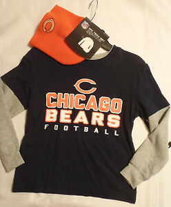 Boys NFL Chicago Bears M L Choice Long Sleeve Shirt Orange Winter Hat NWT