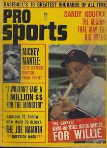 September 1965 Inaugural Pro Sports Magazine - Mickey Mantle Willie Mays HOF