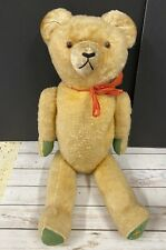 """Antique 26"""" Large Jointed Teddy Bear Stuffed Animal Wood Chips Straw"""