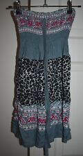 Girls Kids Grey Elephant Leopard Print Strapless Halter Mini Dress Size S