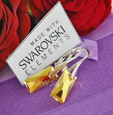 925 SILVER EARRINGS CRYSTALS FROM SWAROVSKI® QUEEN BAGUETTE METALLIC SUNSHINE