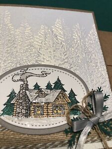 4 Cabin in the Forest Pines Rustic Retreat Embossed Greeting Card Kit Stampin Up