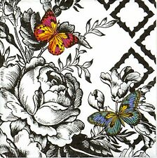 4x Single Paper Napkins - Butterfly Toile- for Party, Decoupage Decopatch Craft
