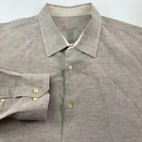 Tasso Elba Mens Button Front Shirt Gray Heathered Linen Cotton Long Sleeve XXL