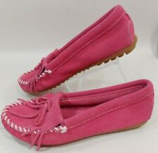 Minnetonka Moccasins Kilty Pink Suede Leather Loafer Slip On Shoes Women's 5.5M