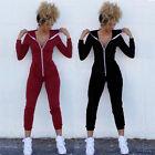 USA Fashion Women Sport Suit Bodysuit Long Sleeve Zipper Hooded Jumpsuits Pants