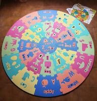 Tappeto puzzle per bambini Tondo ABC con parole in inglese Ø123 cm
