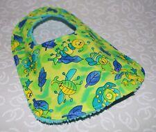 Handmade Green Bugs Baby Bib 100% cotton Terry Cloth Backing