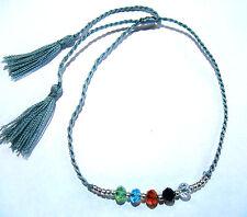 Bracelet brésilien Friendship ajustable Amitié Strass Pompon gris Perles