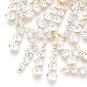 30 x Nickel Free Clear Real 18K Gold Plated Brass Cubic Zirconia Pendants Charms