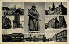 Čáslav Tschaslau s/w Mehrbildkarte 1939 Otakarova básta Dusikovo divadlo Theater