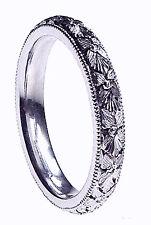 NEW LADY HAND ENGRAVED PURE PALLADIUM WEDDING BAND RING