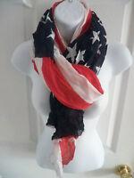 NEW Womens Long Thin Soft American Flag Theme Scarf Shawl Wrap Stole HOT