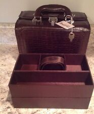 Vintage Marshall Fields Brown Croc Leather Train Case Makeup Jewelry Bag W/Key