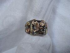 Antique Black Hills Men  SOLID 14k GOLD LEAVES / Sterling Ring Size11 Not Scrap