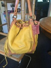 VALENTINA NWT Leather Bucket Yellow Tan LARGE SHOULDER Bag Italy Vintage????