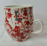ANTHROPOLOGIE Monogram Mug Coffee Cup/Mug Letter L Red Floral Homegrown Ceramic