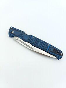 "Cold Steel Frenzy II Tri-Ad Lock Knife Black/Blue G-10 (5.5"" Satin) 62P2A"