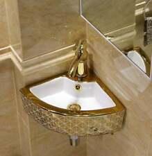 UK Small Bathroom Vessel Sink Triangle Wall Mount Corner Vanity Ceramic Golden