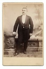 """1890s Cabinet Photo Man in Tux w/Ruins Background Seeley NYC 4.25""""x6.5"""""""
