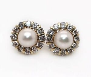 14K Solid Yellow Gold 2 Ct Natural Diamond & Pearl Cluster Stud Earrings