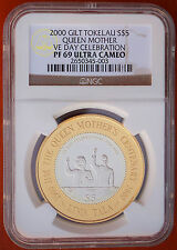 2000 Tokelau 5 Tala Silver Proof Gold Plated NGC PF69 UCAM VE DAY CELEBRATION