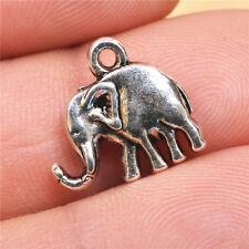 30pcs  tibetan silver 3D  elephant Charms Pendants Beads 14MM