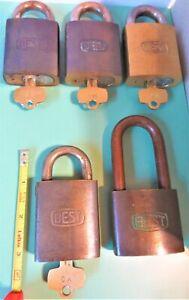 5 BEST IC CORE LOCK BRASS PADLOCKS 7 PIN CORES W/ 4 KEYS MSTR STEEL SHACKLES