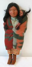 "Antique Skookum Doll with Papoose Glancing Right 11"" Indian Native American"