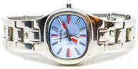 """Ladies Fossil ES-9763 retro watch with blue and red face 6.5"""" band stainless"""