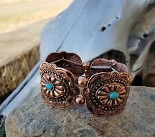 COWGIRL BLING CONCHO COPPER TONE METAL  FAUX TURQUOISE SOUTHWESTERN BRACELET