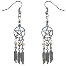 Lux Accessories Hematite Pentagram Beaded Dreamcatcher feather dangle earrings