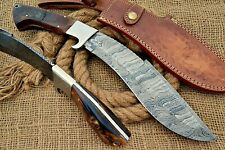 HUNTEX Custom Handmade Damascus Steel 38 cm Long Ram Horn Hunting Kukri Knife
