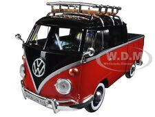 VOLKSWAGEN TYPE 2 (T1) DELIVERY PICKUP TRUCK RED/BLACK 1:24 BY MOTORMAX 79552