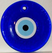 "7"" (18cm) Round Blue Glass Turkish Evil Eye Judaica Wall Good Luck Charm"