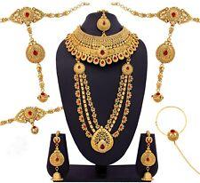 MAROON LCT POLKI GOLD TONE INDIAN BOLLYWOOD BRIDAL DULHAN WOMEN JEWELRY SET 9 PC