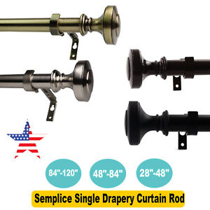 """1"""" Diameter Steel Semplice Single Drapery Curtain Rod 28""""-48""""/ 48""""-84""""/84""""-120"""""""