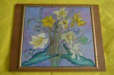 Peinture sur panneau bouquet de jonquilles signée Fischer