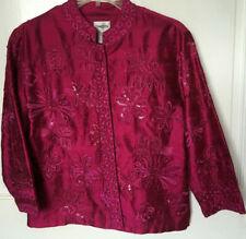 Chico's Women's Size 1 Medium Size 8 Silk Jacket Fuchsia Pink Purple Embroidery