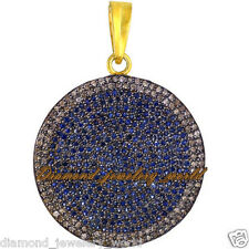 Estate Artdeco 2.01cts Rose Cut Diamond Sapphire Studded Silver Jewelry Pendant