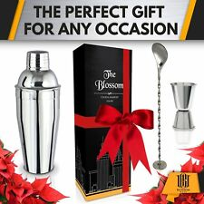 Cocktail Shaker Set Gift Box - 24 oz Stainless Still Martini Mixer w/built-in St