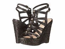 Women Guess Onixx3 Wedge Sandals, Size 8 Black Leather Authentic NIB