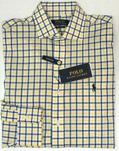 Polo Ralph Lauren Yellow Blue Plaid Classic Dress Shirt Long Sleeve Stretch $98