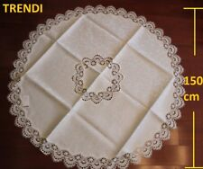 Elegant Embroider Lace Round Dinning Tablecloth 150cm suit 4-6 chair IVORY CREAM