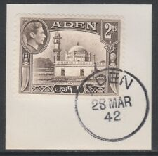 Aden 5285 - 1939 KG6 2a on piece with MADAME JOSEPH FORGED POSTMARK
