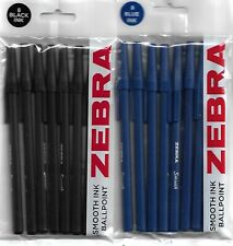 Zebra 8 pack of smooth ink ballpoint pens choose from blue or black.