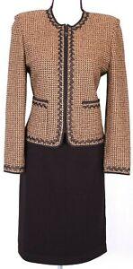 ST.JOHN Women Suit Knit Orange Brown Trim Tweed Zip Jacket & Brown Skirt Sz 6