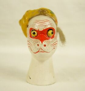 Vintage Chinese Clay Painted Glove Puppet Head - Move-able Eyes - Cat Like